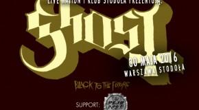 Dead Soul wystąpi przed Ghost. 30 maja, klub Stodoła, Warszawa